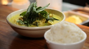 Green curry of organic chicken and market vegetables.