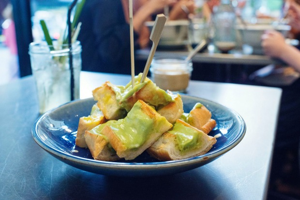 Pandan custard on toast at Boon Cafe.