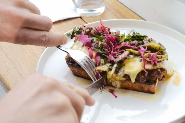 Eggplant, Aleppo pepper and Turkish cheese toastie with fried eggs, fermented chilli and sumac onions at Babajan (lamb ...