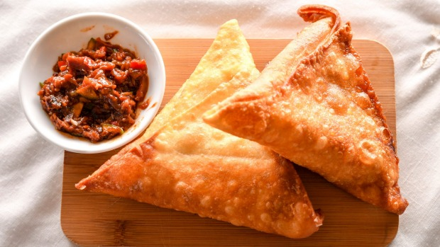 Sambosa, the Ethiopian version of samosa, with chutney.
