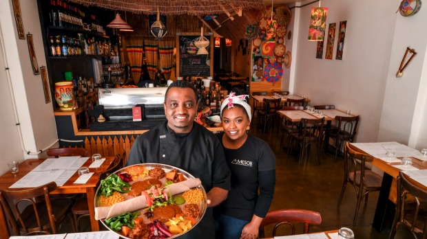 Cchef owner Dawit Kebede and manager Naz Mahari.
