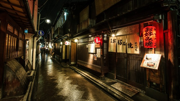 Pontocho alley in old Kyoto is home to many kaiseki restaurants.