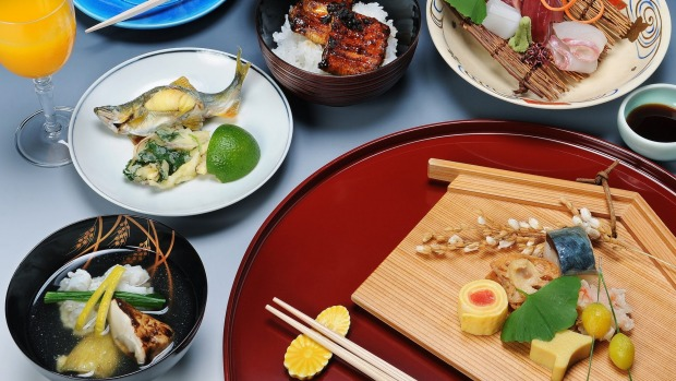 Simplified version of a kaiseki meal at a Kyoto restaurant.
