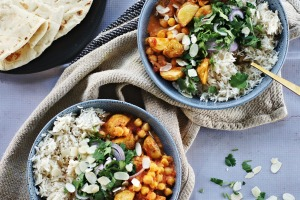 Roast potato and chickpea creamy Bengali-style curry recipe. Four vegetarian and vegan curries for Good Food July 2018. ...