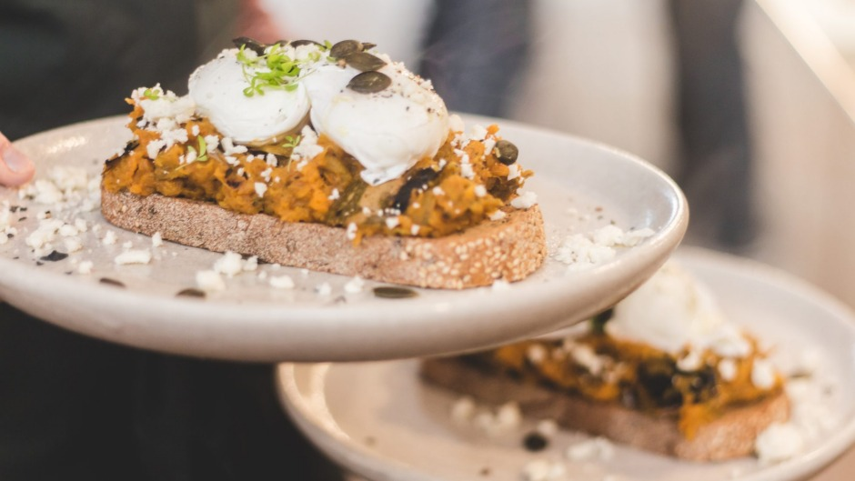 Seasonal smash and poached eggs from the Udder & Hoe team.