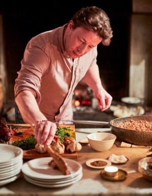 Jamie Oliver in a Tuscan kitchen.