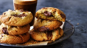 Tahini and orange cookies with molten chocolate pools.
