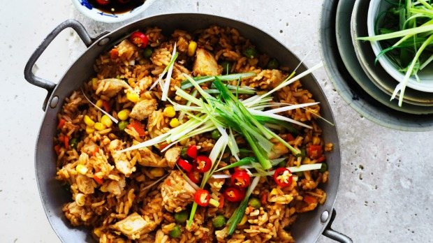 ***EMBARGOED FOR SUNDAY LIFE, AUGUST 19/18 ISSUE*** Adam Liaw recipe : Roast chicken fried rice Photograph by William Meppem (photographer on contract, no restrictions)