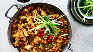 Roast chicken fried rice.