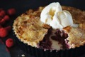 Rhubarb, raspberry and rosewater pie.