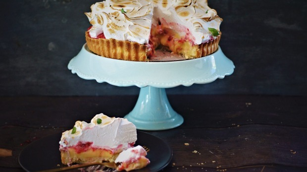 Lemon meringue pie with raspberry and basil recipe. Four sweet pie recipes for Good Food August 2018. Please credit ...