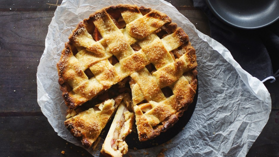 Leave the peel on the apples for this lattice-topped pie.