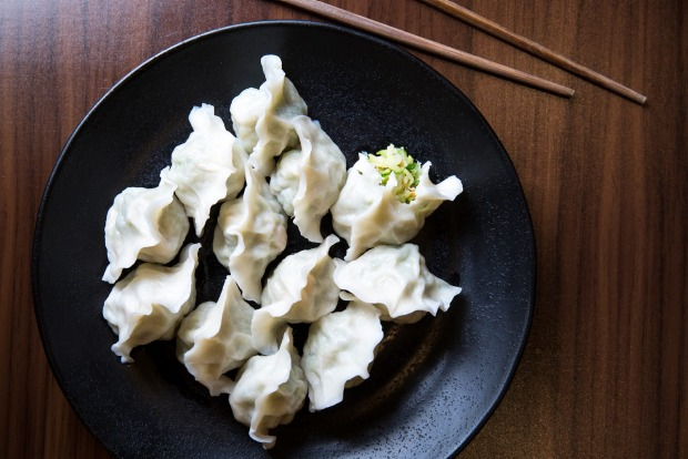 Vegan-friendly zucchini dumplings from ShanDong Mama.