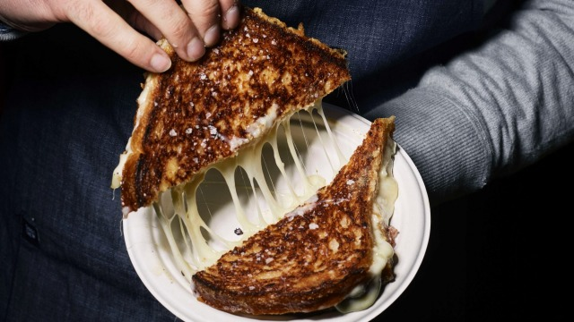 The all American grilled cheese toastie at Maker and Monger, Prahran Market.