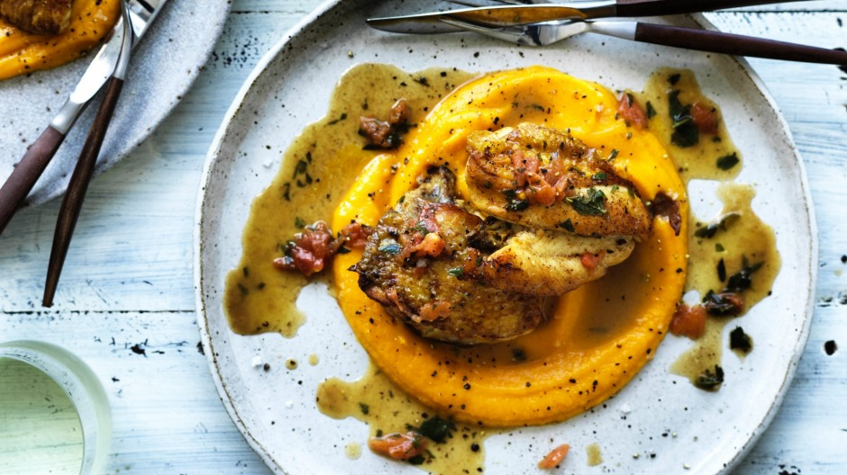 Neil Perrys Chicken Saute With Pumpkin Puree Recipe Good Food