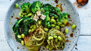 Eat your greens: Green tea noodle bowl with broccoli and edamame.