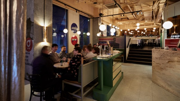 The split-level dining room at Garcon.