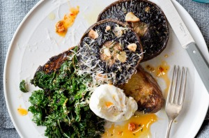Roasted pine mushrooms with poached eggs, confit garlic and chilli kale.