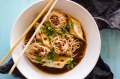 Cheat's noodle soup with dumplings and peppercorns.