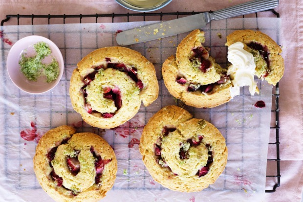 Scones meet strawberry shortcakes: Helen Goh's strawberry lime and creme fraiche swirls <a ...