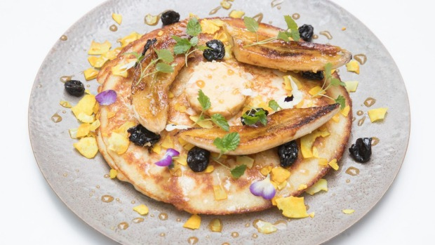 Armadale uttapam: Rice pancake with bananas, sour cherries and maple butter.