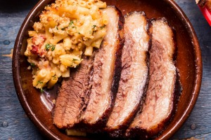 Frank Camorra's barbecued beef brisket served with macaroni cheese.