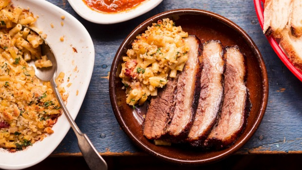 The heat is on: Frank Camorra's barbecued beef brisket with mac and cheese.