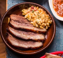 Frank Camorra's barbecued beef brisket with macaroni cheese.