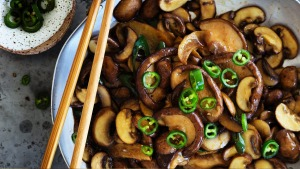 Stir-fried swiss brown and shiitake mushrooms.