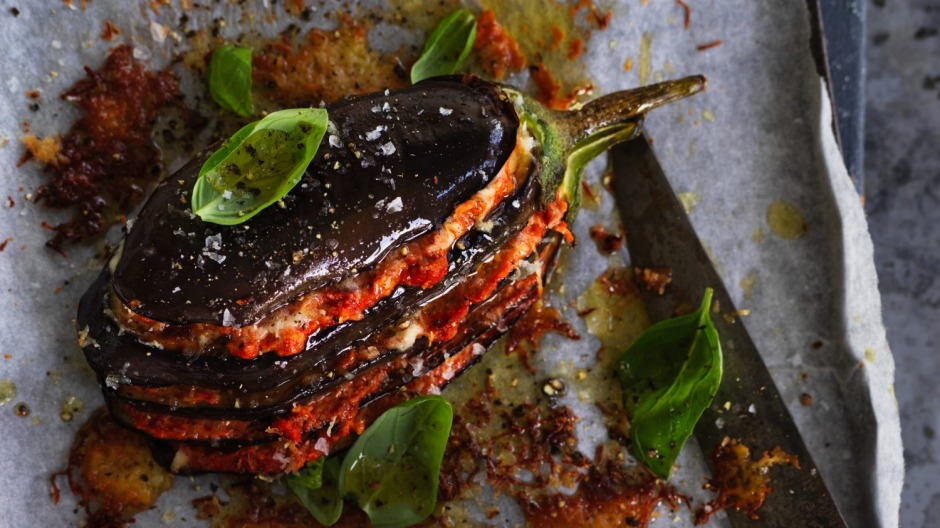 Baked eggplant layered with haloumi and  muhammara.