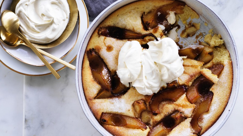 This clafoutis swaps cherries for caramelised pears.