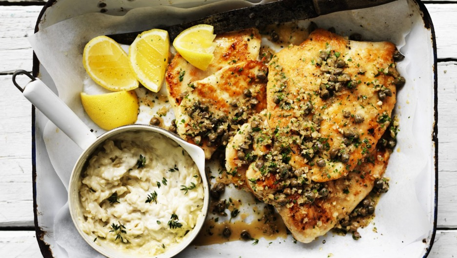 Neil Perry's pan-fried chicken cutlets with lemon and caper sauce and orzo 'risotto'.