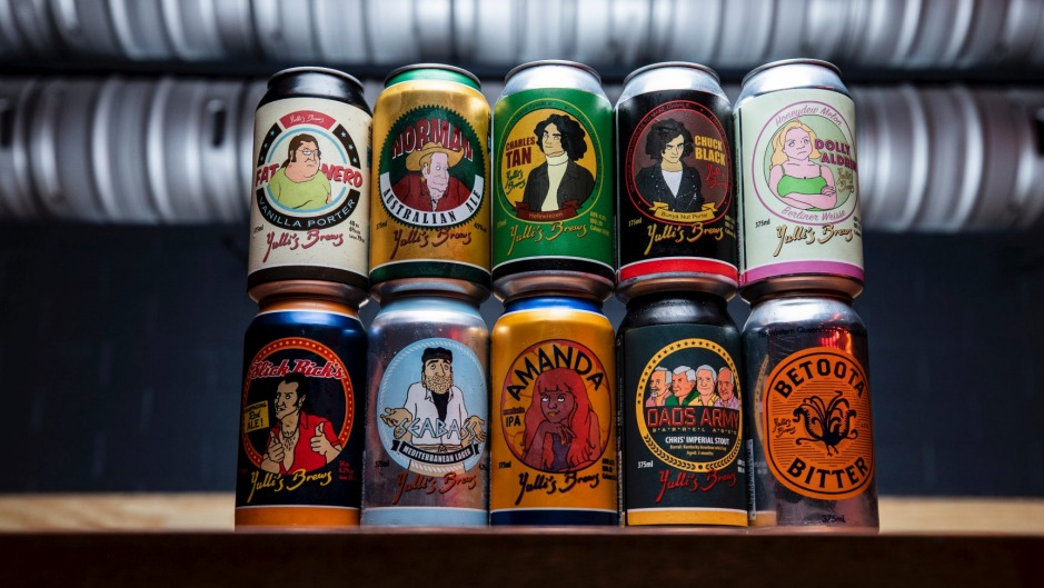 A selection of tinnies produced at Yulli's brewery.