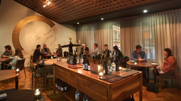 The intimate space features an enormous wine island covered in artful decanters and new and natural wines.