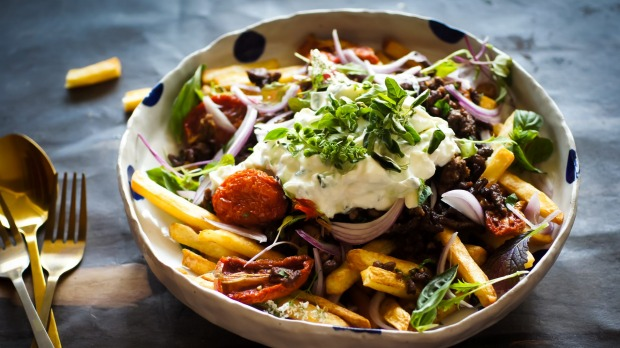 Gyros loaded fries with whipped feta.