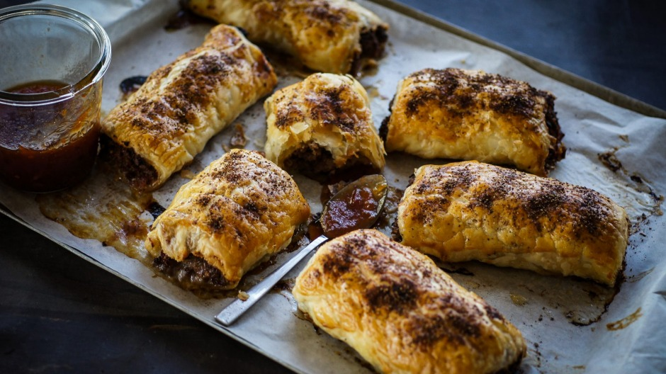 Bloody mary inspired beef sausage rolls with vodka spiked relish.