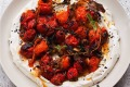 Hot charred cherry tomatoes with cold yoghurt from Yotam Ottolenghi's latest cookbook, Simple.