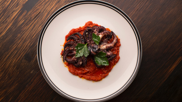 Braised octopus with nduja at Ode, Bondi.