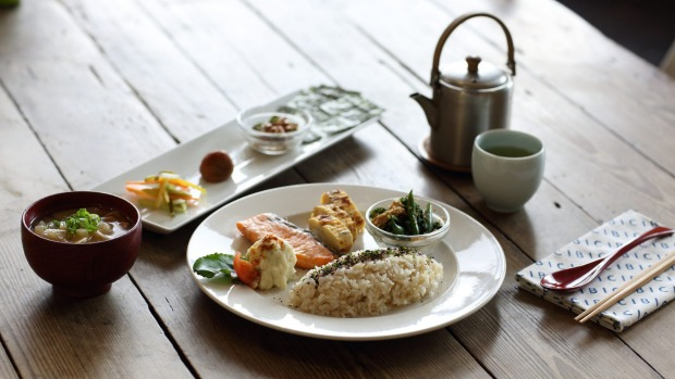 Cibi's traditional Japanese breakfast with grilled salmon fillet, tamagoyaki omelette, greens, rice and miso soup.