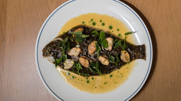Whole kelp flounder with pickled mussels, warrigal greens and aniseed myrtle. - The Pacific Club Bondi Beach Review Bondi Beach Review 2018