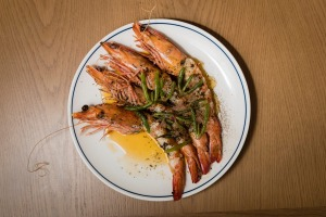 Wild and native: Grilled prawns with kelp butter and sea lettuce.