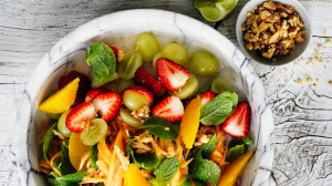 Red papaya fruit salad.