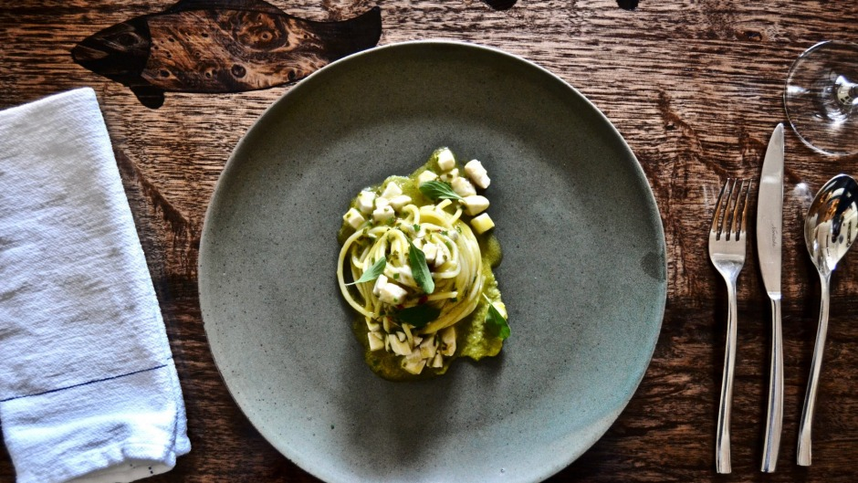 Spaghetti with green olive and marjoram at Fico.