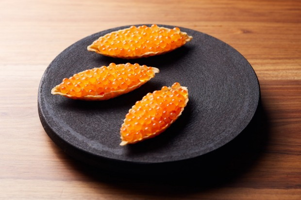 Roe roe roe your boat: Tartlets of salmon roe and bonito cream at Oscar's, below Scott Pickett's new restaurant Matilda ...