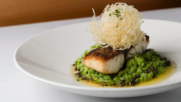 Pan-fried barramundi on peas textured with sunflower seeds and capers.