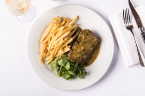 Grilled sirloin, cafe de paris butter and frites at Bistro Moncur, Woollahra.