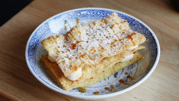 Chinese mille-feuille with wonton skins, Sichuan custard and pineapple.