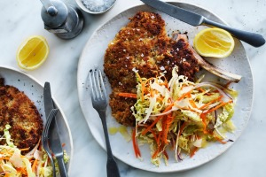 Neil Perry's veal cotoletta with coleslaw