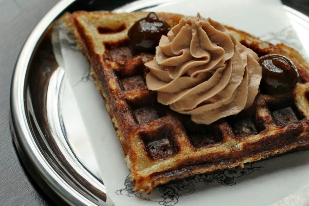 Cumulus Up's signature snack: duck waffle with foie gras and prune.