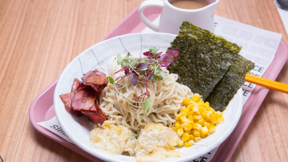 Start the day with breakfast ramen and bacon broth.